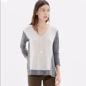Madewell Color Block VNeck Long Sleeve T-Shirt